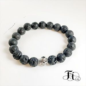Men's Cross & Volcanic Rock Bracelet